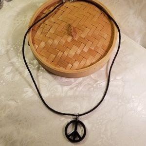 Men gray hematite glass stone peace sign necklace